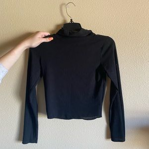 Adorable turtle neck black long sleeve crop top